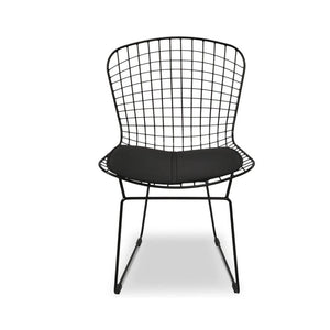 Set Of 2 Chrome Wire Dining Chair With Black Cushion - Notbrand