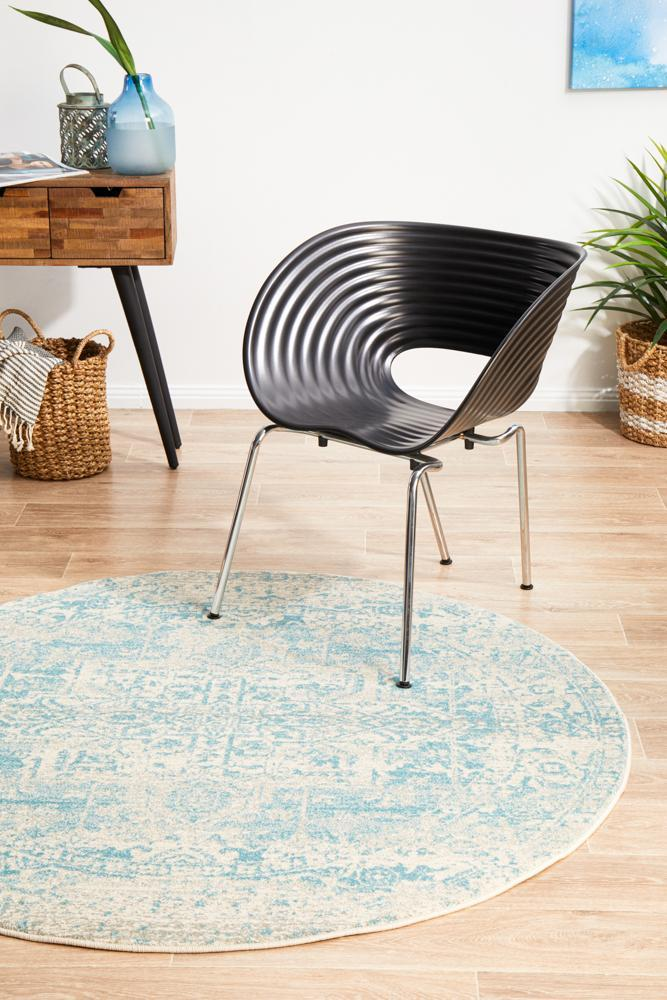 Evoke Glacier White Blue Transitional Round Rug - Notbrand