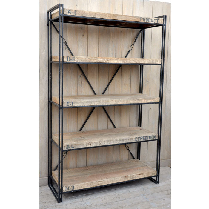 Expedition Mango Timber Industrial Bookcase Shelving Unit
