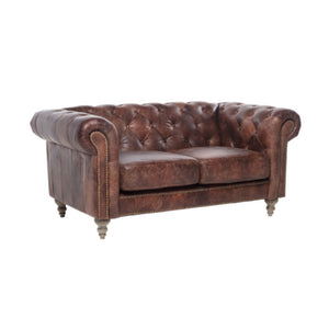 Bekham 2 Seater Chesterfield Sofa Top Grain Leather - Notbrand