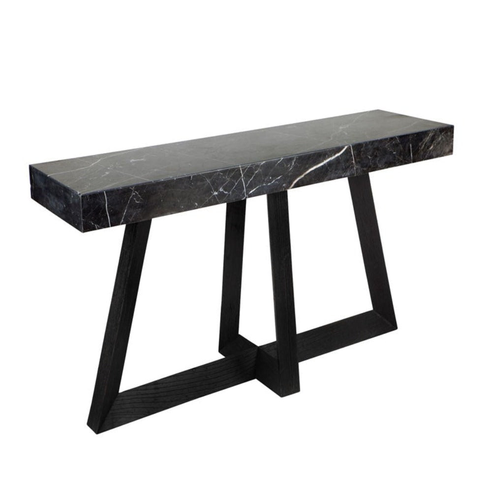 Ebony Marble Top Console Table - Black - Notbrand
