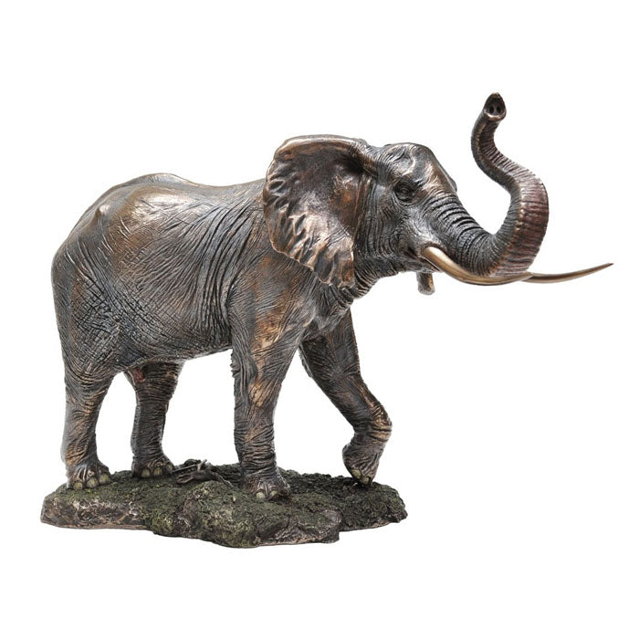 Elephant With Trunk Up Bronze Figurine - Notbrand