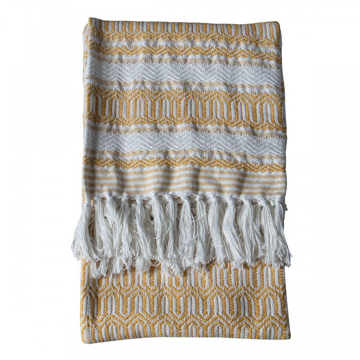 Knox Cotton Slub Throw Ochre - Notbrand
