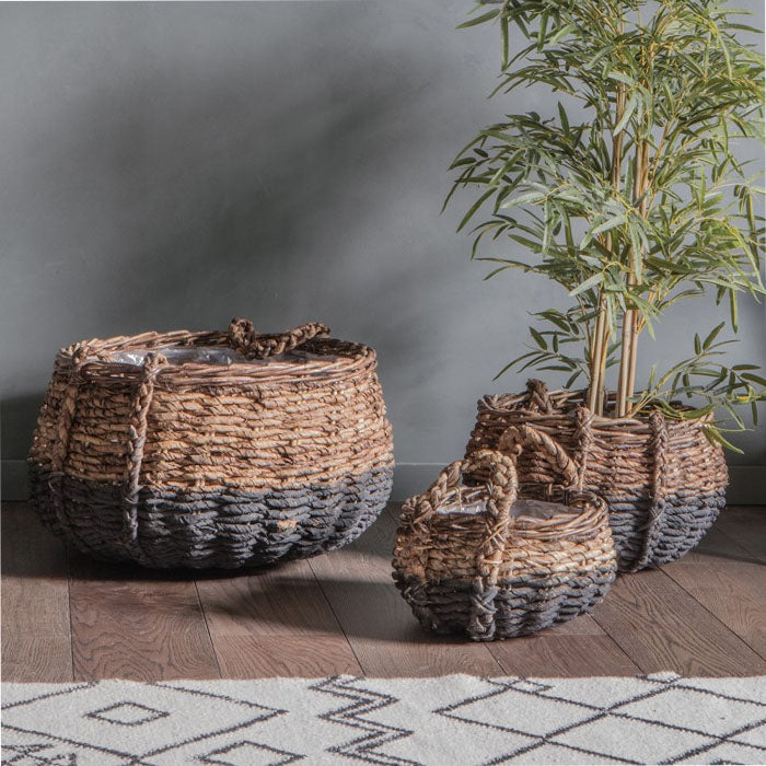 3 Piece Juana Rattan Baskets Black and Natural - Notbrand