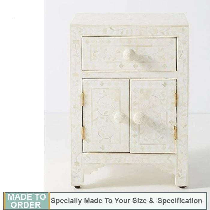Emma Floral Design Bone inlay 1 Drawer & 2 Door Side Table White - Notbrand