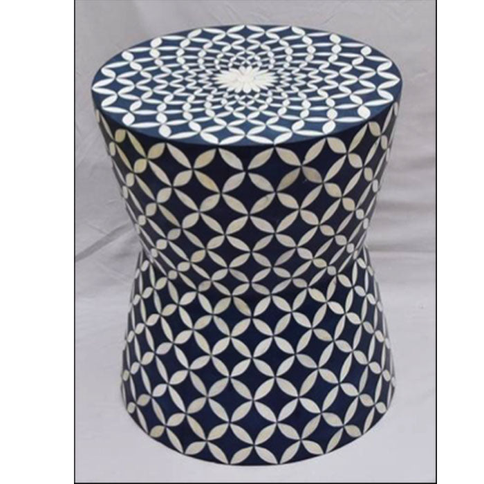 Samantha Eye Design Bone Inlay Drum Bar Stool Occasional Side Table Blue - Notbrand