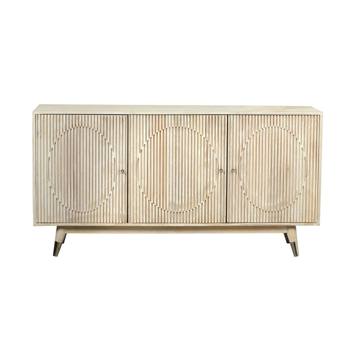 Fluted Ash Hardwood Hand Made Retro Sideboard - Notbrand