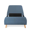 Spanish Single Bed Frame - Yale Blue Fabric - Notbrand