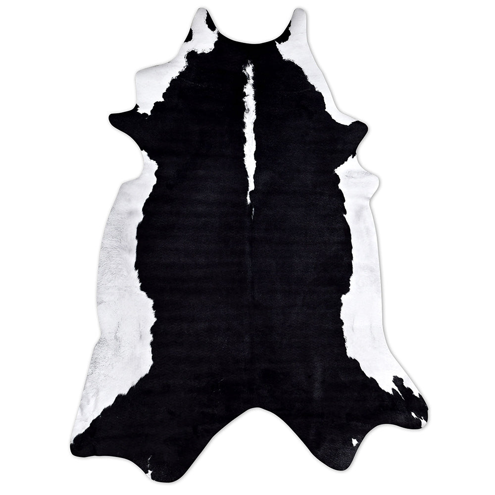 Faux Cowhide Rug Black & White Solid Belly Print - Notbrand