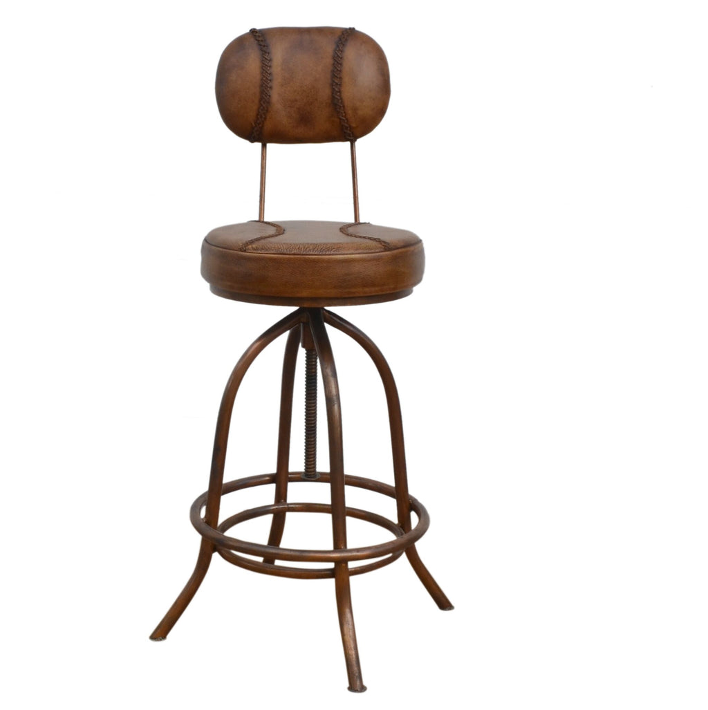 Industrial Leather Bar Stool - Notbrand