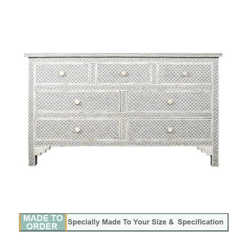 Irem Fish Scale Design Bone Inlay Chest of 7 Drawers Grey - Notbrand
