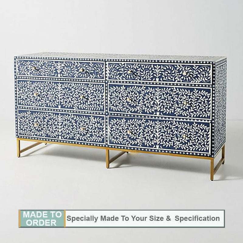 Nicole Scroll Wine Bone Inlay Chest of 6 Drawers Blue - Notbrand