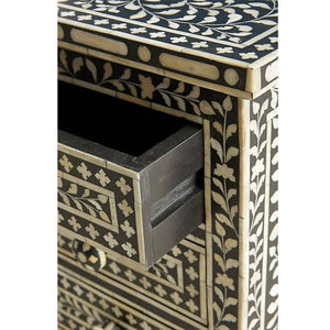 Aria Floral Design Bone Inlay 3 Drawers Bedside Table Black - Notbrand