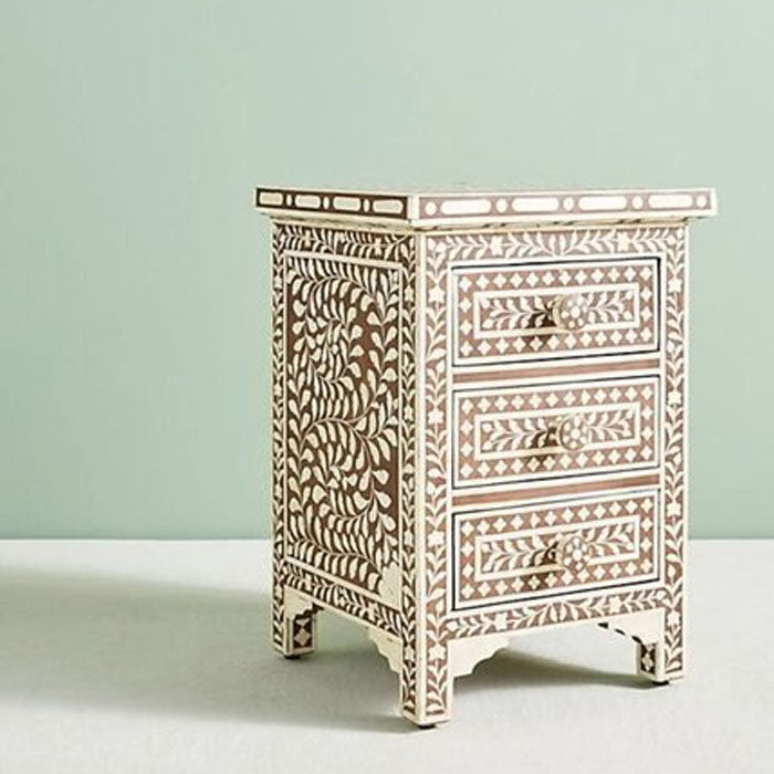 Ava Floral Design Bone Inlay 3 Drawers Side Table Brown - Notbrand