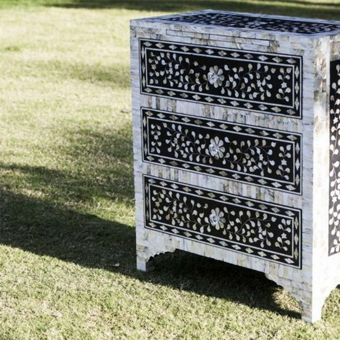 Zoe Floral Design Mother of Pearl Inlay Black Bedside Table Three Drawers - Notbrand