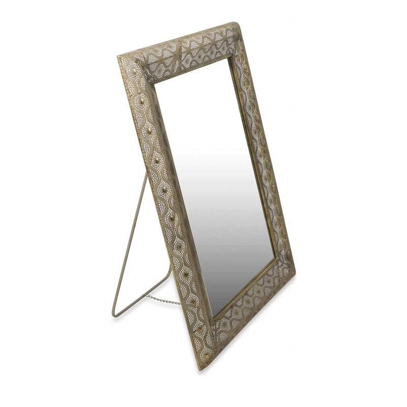 Filigree Metal Standing Floor Mirror with Support Frame - Notbrand