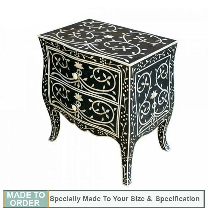 French Design Bone Inlay Black Bedside Table - Notbrand