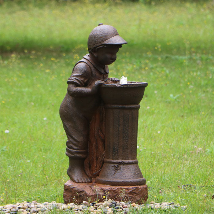 Boy At Water Fountain with LED