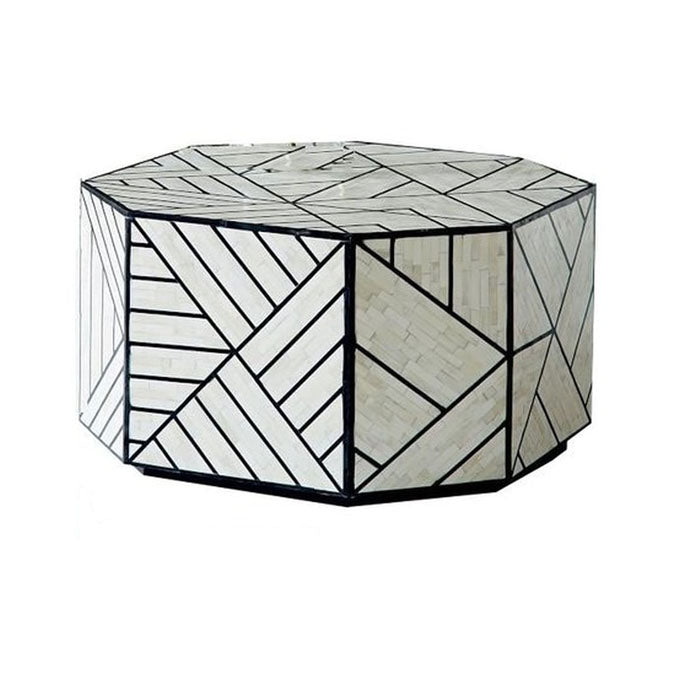 Marcello Geometric Design Bone Inlay Coffee Table - Notbrand