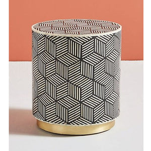 Geometric Design Bone Inlay Round Side Table with Brass Polished Base - Notbrand
