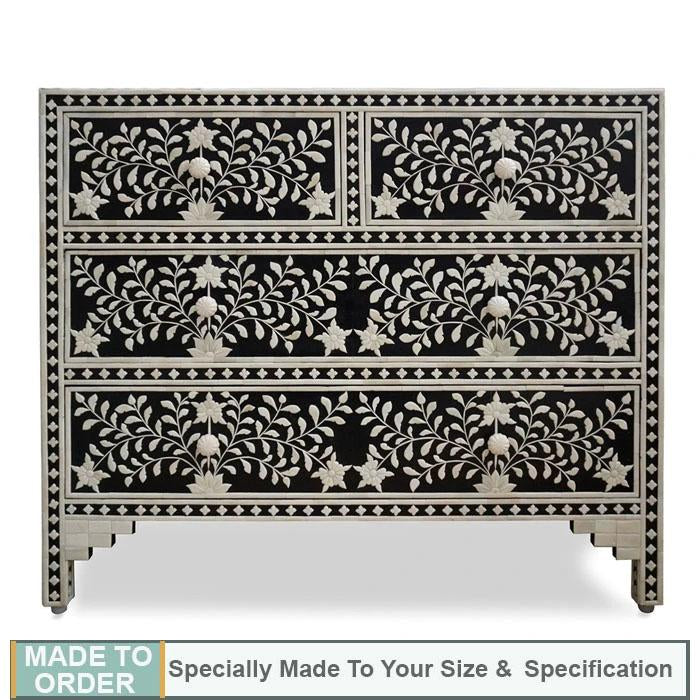 Gianna+Black+Floral+Embossed+Bone+Inlay+Chest+4+Drawers+Dresser