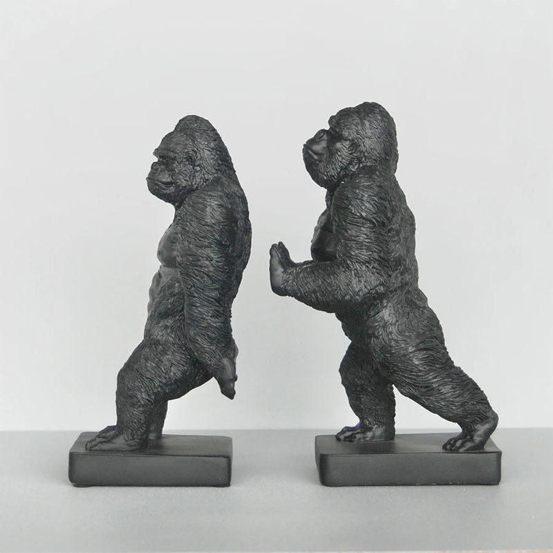 Pushing Gorilla Bookend Set - Black - Notbrand