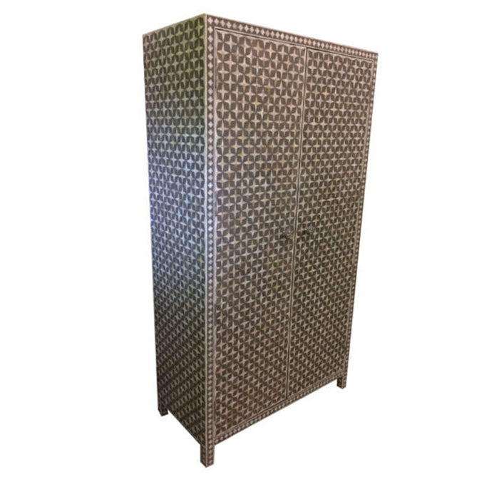 Naida Mother of Pearl Star Inlay Almirah Cabinet Wardrobe Grey - Notbrand