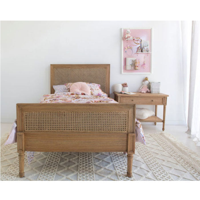 Percy Timber and Cane Bed Weathered Oak – King Single - Notbrand