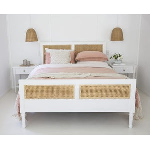 Percy Timber and Cane Bed – White - Notbrand