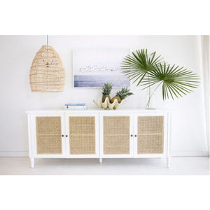 Percy Rattan Four Door Sideboard – White - Notbrand