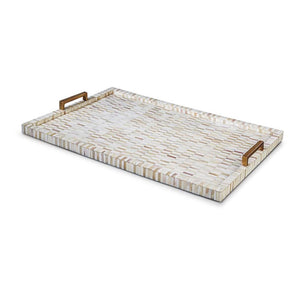 Vincente Multi-Tone Bone Inlay Tray with Brass Handles - Notbrand