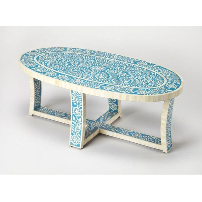 Benito Oval Floral Design Bone Inlay Coffee table in Blue - Notbrand