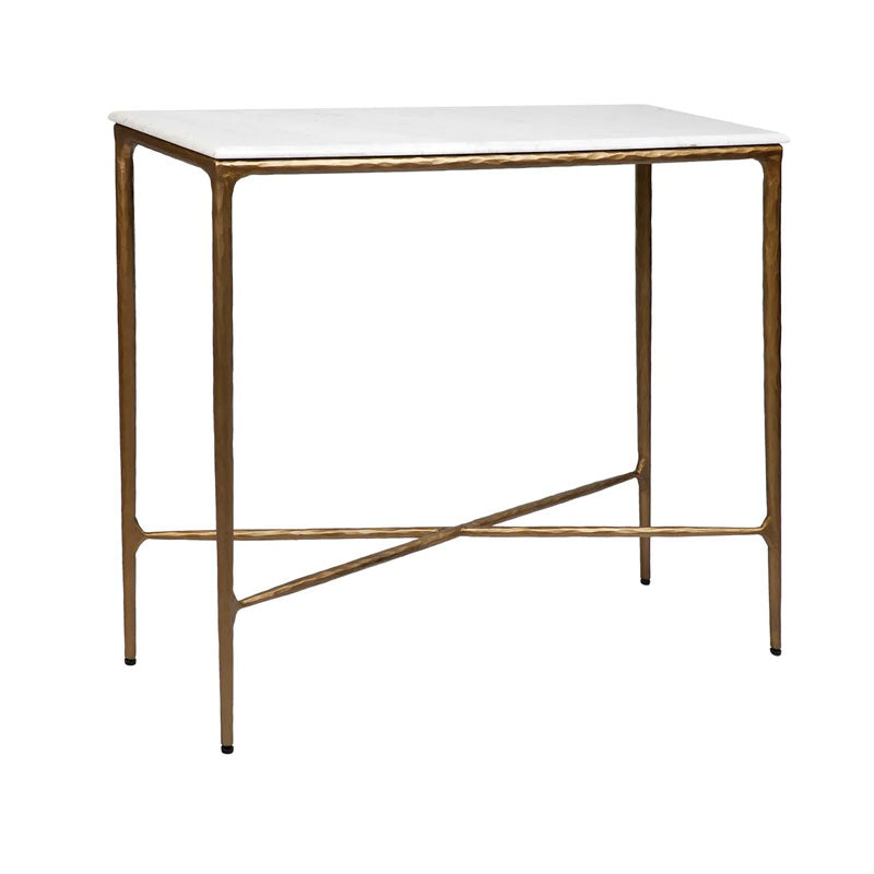 Heston Marble Console Table - Small Brass - Notbrand