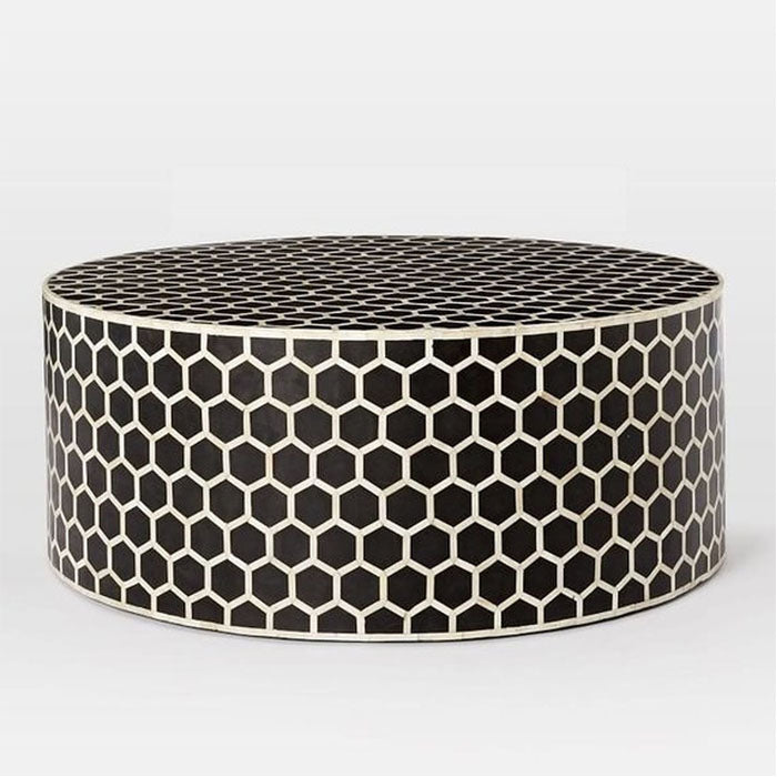 Mia Honey Comb Design Bone Inlay Round Coffee Table Black - Notbrand