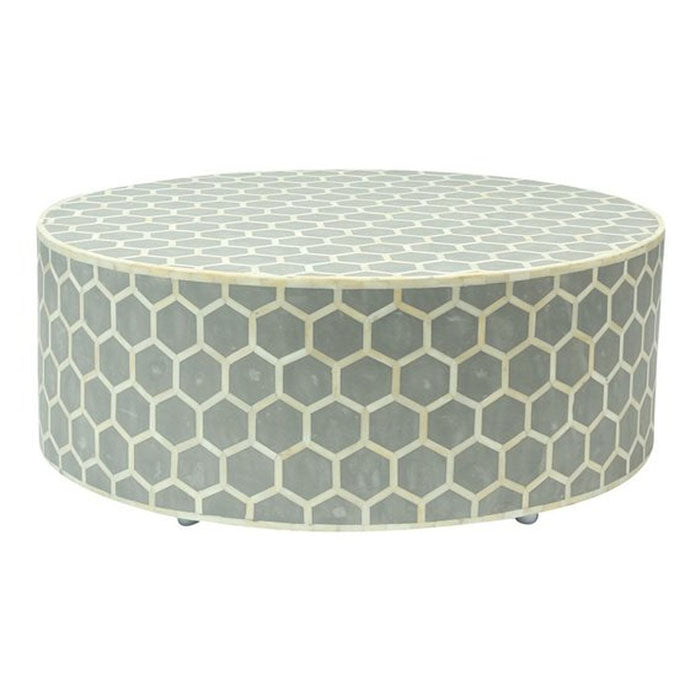 Ava Honeycomb Design Bone Inlay Round Coffee Table Grey - Notbrand
