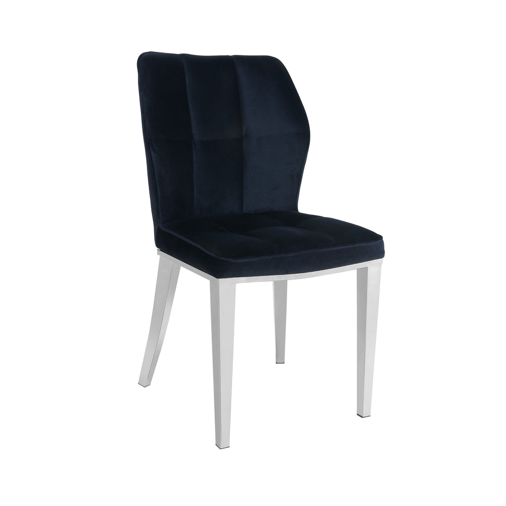 Set Of 2 Ghibli Black Velvet Dining Chair with Silver Frame