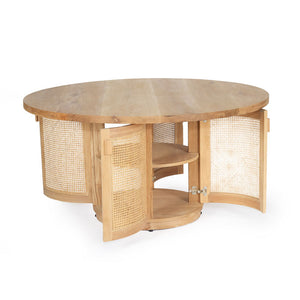 Tropical Springs Dining Table American Oak and Rattan - Notbrand