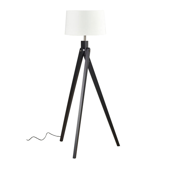 Inigo Floor Lamp Black w Natural Shade - Notbrand