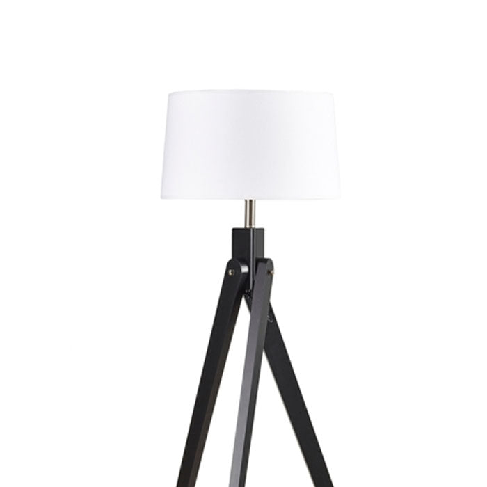 Inigo Floor Lamp Black w White Shade - Notbrand