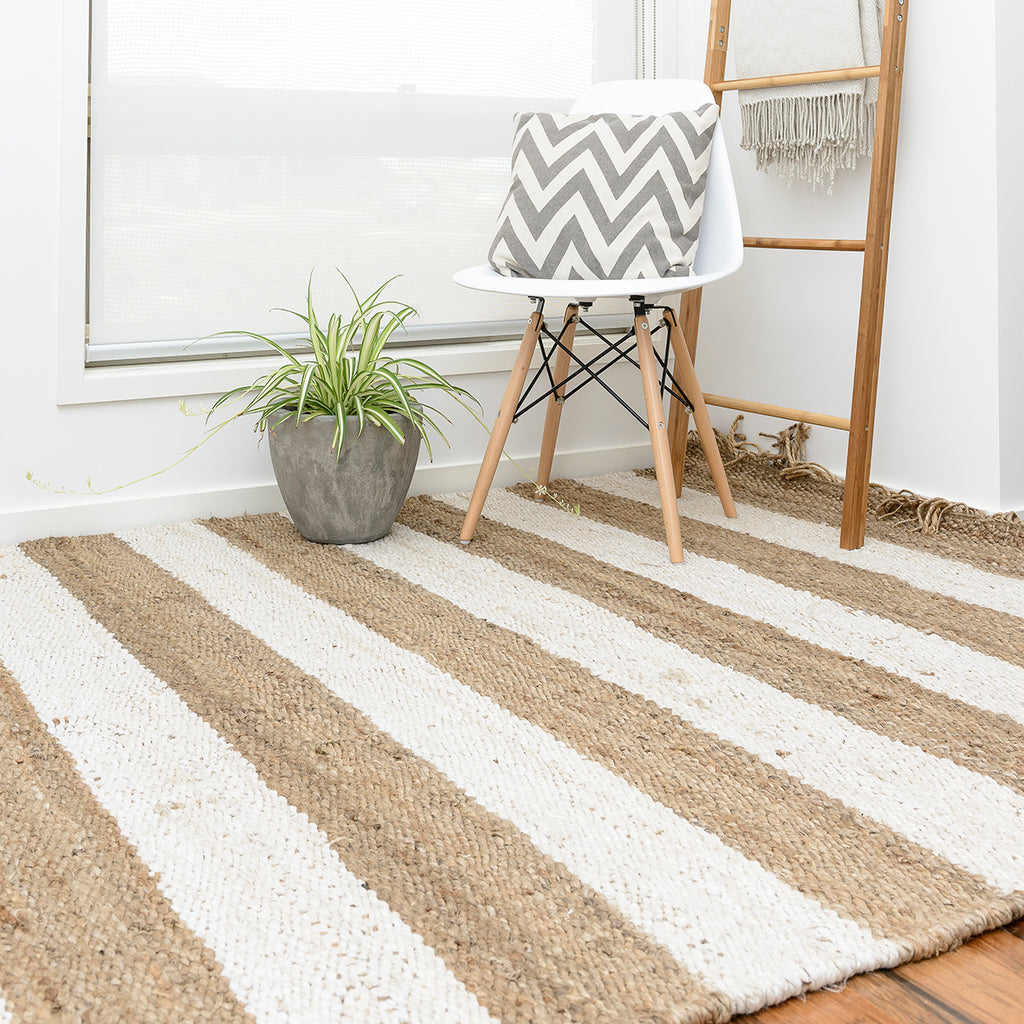 Jute Hemp Rug With White Lines