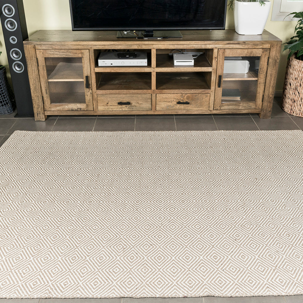 White Rustic Diamond Cotton & Jute Flatweave Rug