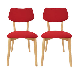 Set of 2 Jellybean Solid Timber Chairs - Red - Notbrand