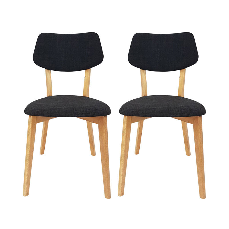 Set of 2 Jellybean Solid Timber Chairs - Charcoal - Notbrand