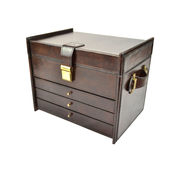 Graff 4 Rack Dark Leather Jewellery Box - Notbrand