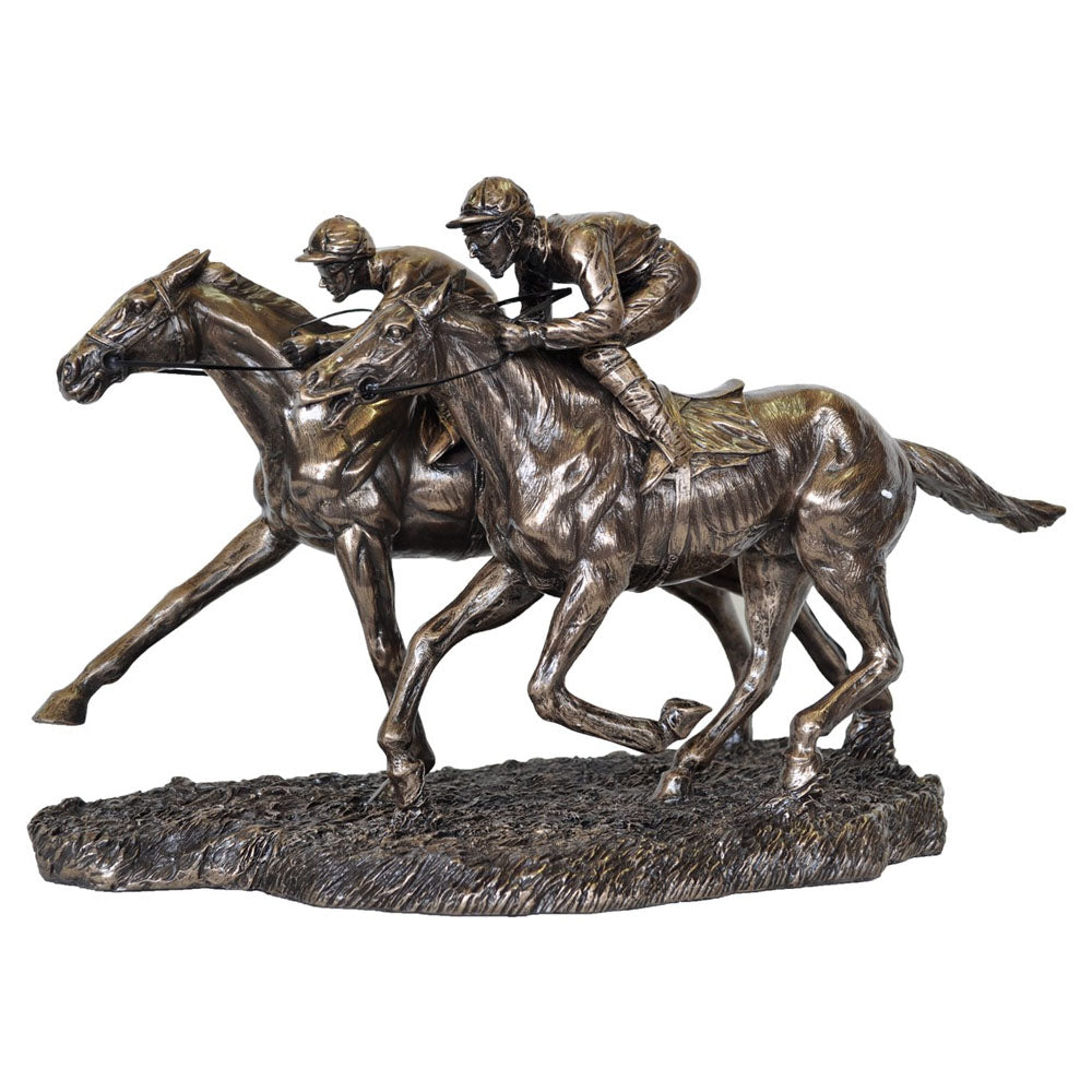 Jockeys Racing Bronze Figurine