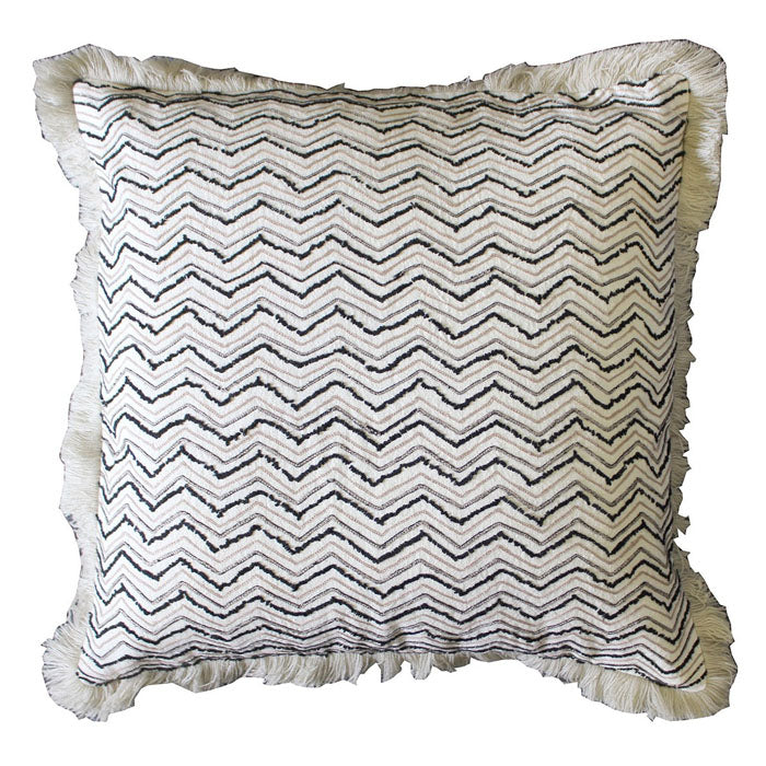 Abiha Embroidered Cushion Natural & Black - Notbrand