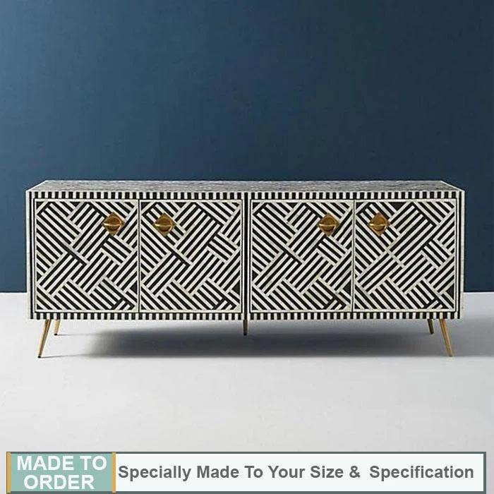 Jorah+Bone+Inlay+Entertainment+Unit+Sideboard+Stripe+Design