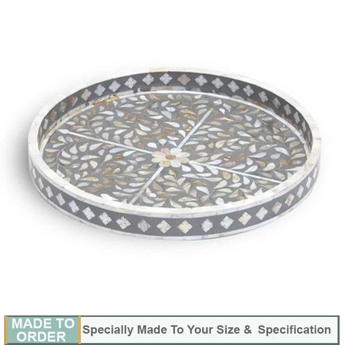 Josefa Round Mother of Pearl Inlay Tray Grey - Notbrand