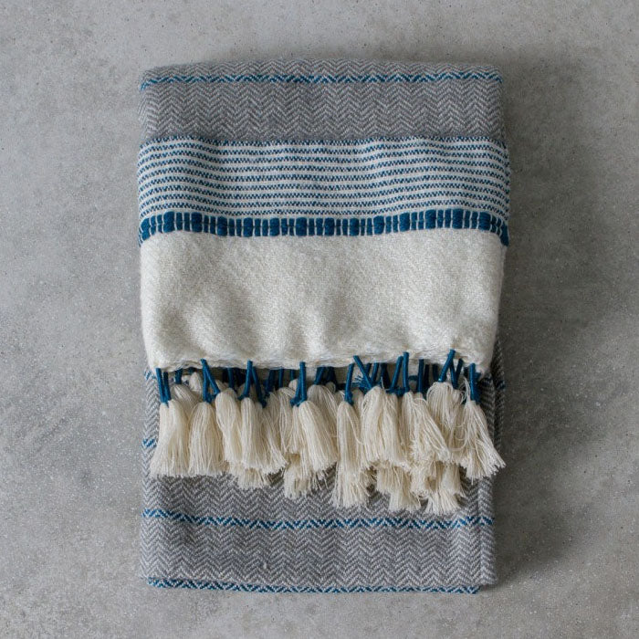 Margot Teal Textured Throw - Notbrand