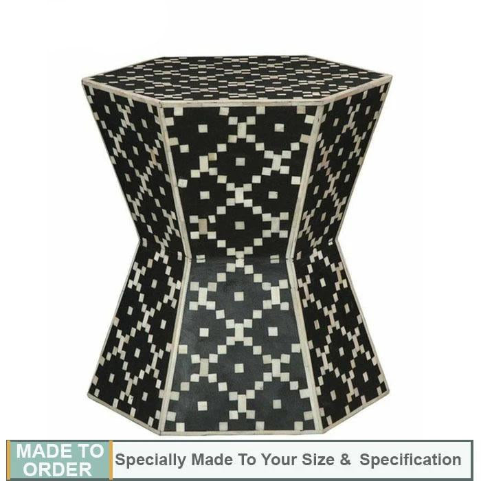 Kayden+Diamond+Design+Bone+Inlay+Drum+Side+Table+Black